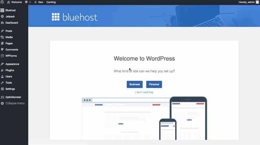Bluehost - Welcome to WordPress