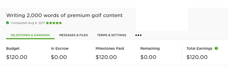 Freelance writing receipt from Upwork