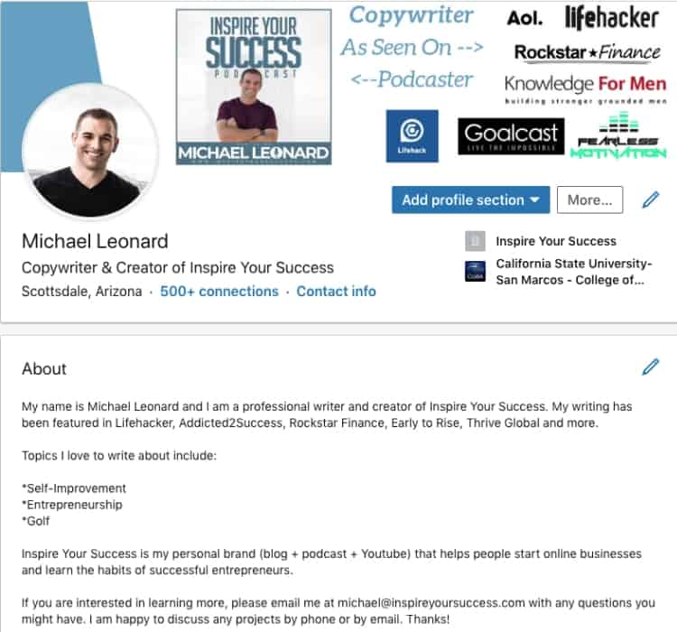 LinkedIn for Freelancing Success - Michael Leonard Profile